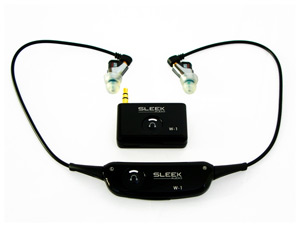 The Sleek Audio wireless earbud package includes a set of nice earbuds and both a wireless receiver and transmitter.